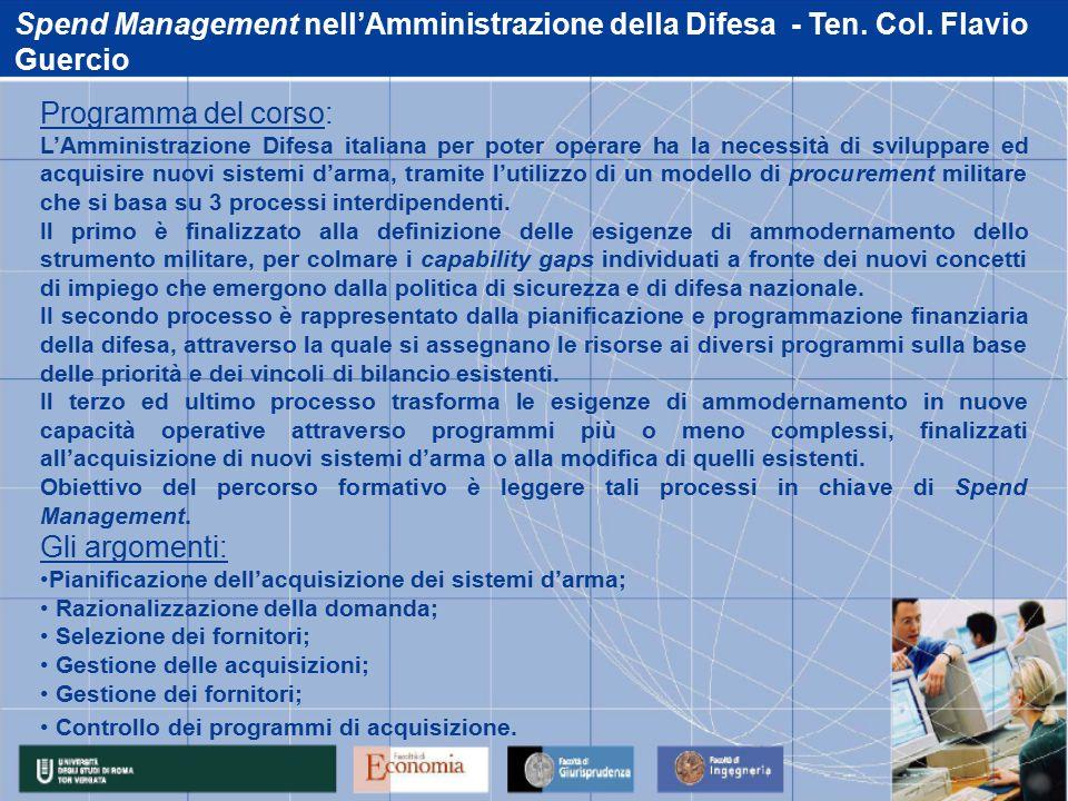 Spend Management nell'Amministrazione della Difesa - Ten.