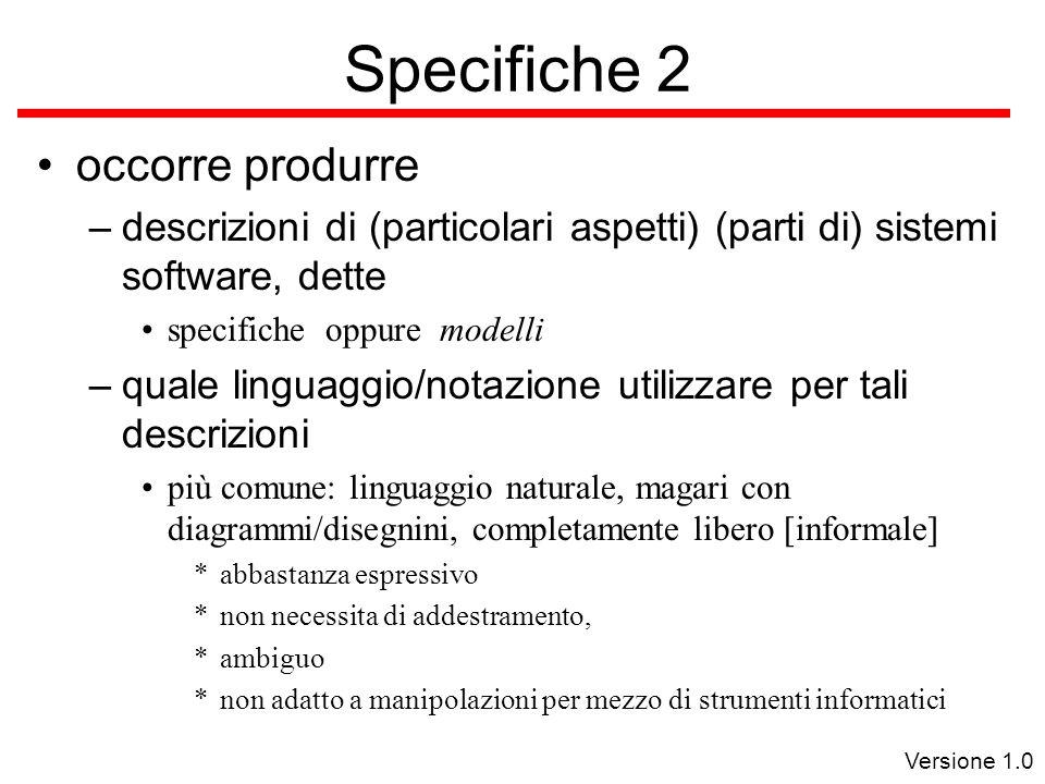 Versione 1.0 Specifiche 3 diagrammi/testo aventi una forma molto precisa, ma il cui significato è presentato informalmente uusando il linguaggio naturale, es.