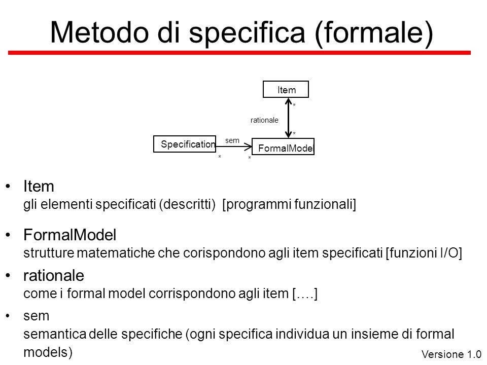 Versione 1.0 Metodo di specifica (formale) FormalModel ItemSpecification * sem * rationale * * Item gli elementi specificati (descritti) [programmi funzionali] FormalModel strutture matematiche che corispondono agli item specificati [funzioni I/O] rationale come i formal model corrispondono agli item [….] sem semantica delle specifiche (ogni specifica individua un insieme di formal models)
