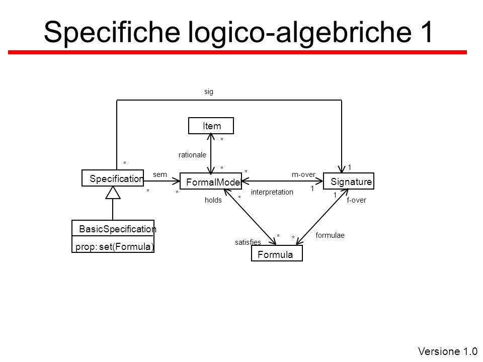 Versione 1.0 Specifiche logico-algebriche 1 interpretation 1 * m-over f-over 1 formulae * BasicSpecification prop: set(Formula) Formula Signature FormalModel Item rationale * * Specification * sem * * holds satisfies * sig 1 *