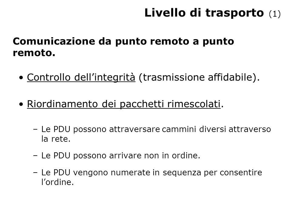 Livello di trasporto (1) Comunicazione da punto remoto a punto remoto.