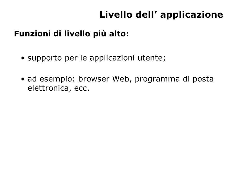Livello dell' applicazione Funzioni di livello più alto: supporto per le applicazioni utente; ad esempio: browser Web, programma di posta elettronica, ecc.