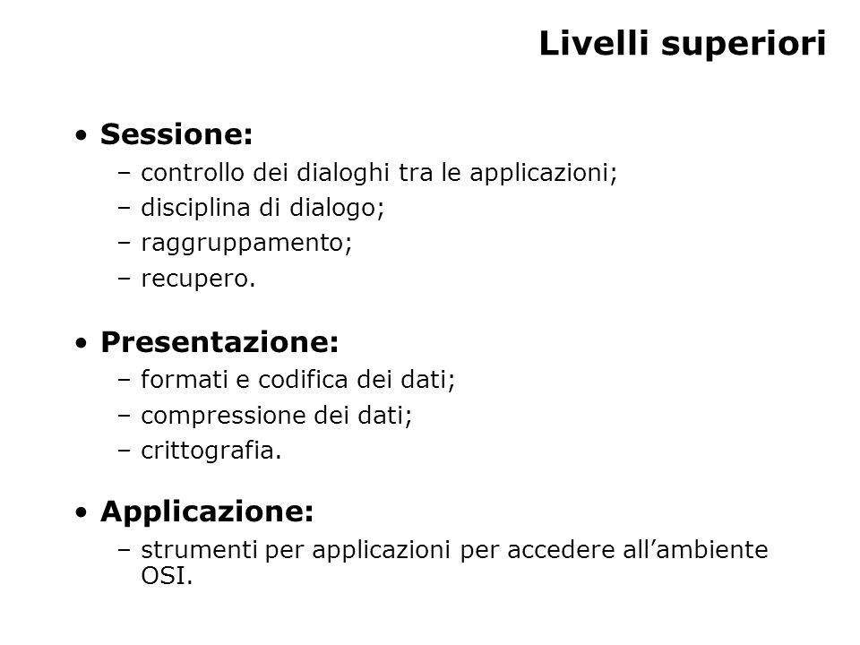 Livelli superiori Sessione: –controllo dei dialoghi tra le applicazioni; –disciplina di dialogo; –raggruppamento; –recupero.