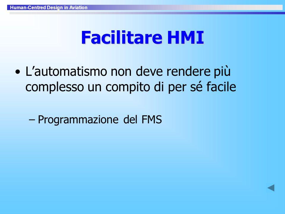 Human-Centred Design in Aviation Facilitare HMI L'automatismo non deve rendere più complesso un compito di per sé facile –Programmazione del FMS