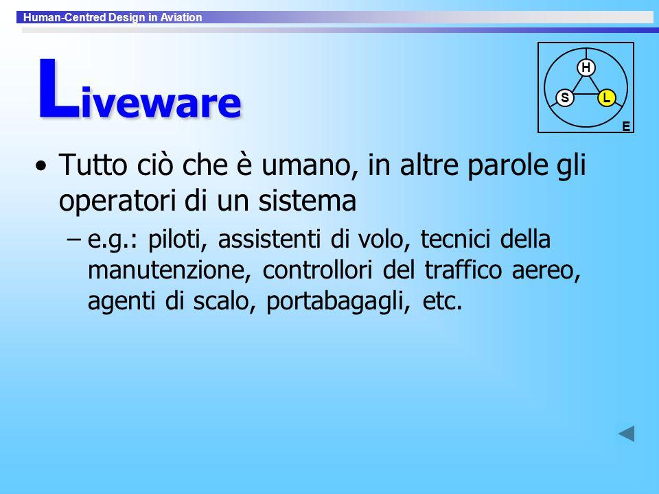 Human-Centred Design in Aviation L iveware Tutto ciò che è umano, in altre parole gli operatori di un sistema –e.g.: piloti, assistenti di volo, tecni