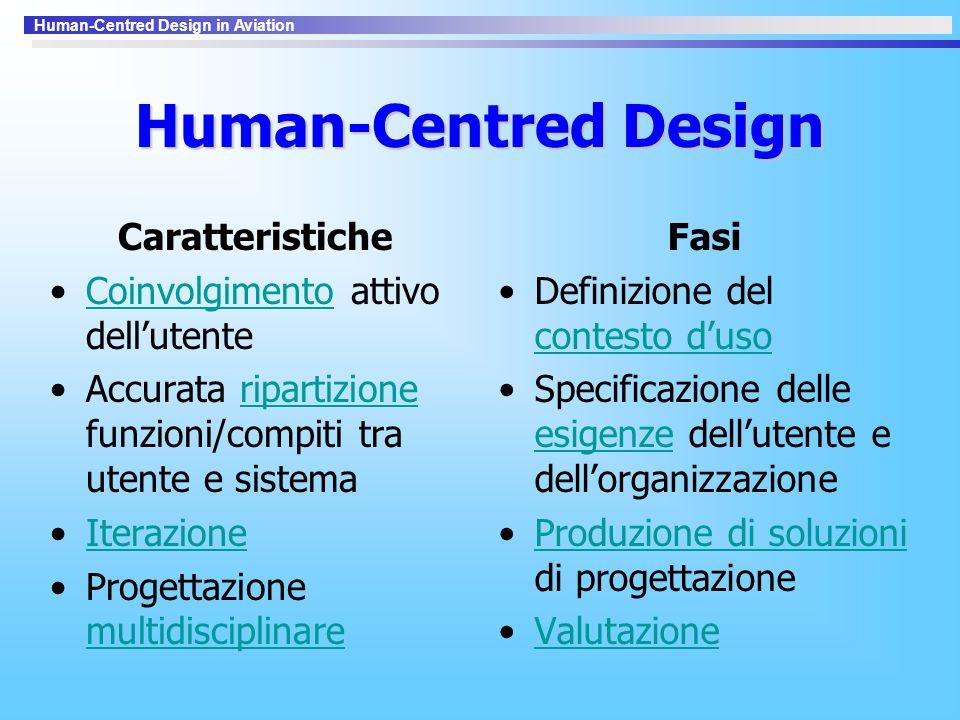 Human-Centred Design in Aviation Human-Centred Design Caratteristiche Coinvolgimento attivo dell'utenteCoinvolgimento Accurata ripartizione funzioni/c