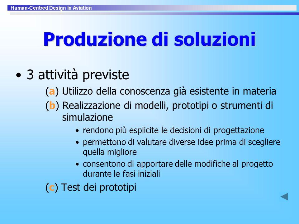 Human-Centred Design in Aviation Produzione di soluzioni 3 attività previste (a) Utilizzo della conoscenza già esistente in materia (b) Realizzazione