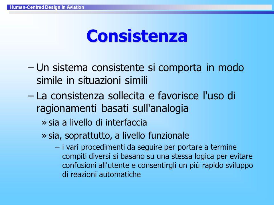 Human-Centred Design in Aviation Consistenza –Un sistema consistente si comporta in modo simile in situazioni simili –La consistenza sollecita e favor