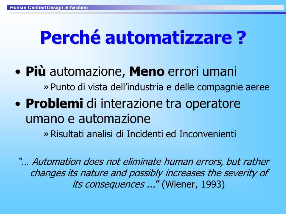 Human-Centred Design in Aviation Perché automatizzare ? PiùMenoPiù automazione, Meno errori umani »Punto di vista dell'industria e delle compagnie aer