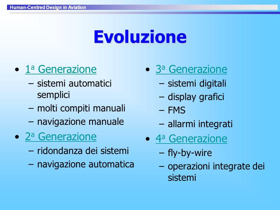 Human-Centred Design in Aviation Evoluzione 1 a Generazione1 a Generazione –sistemi automatici semplici –molti compiti manuali –navigazione manuale 2