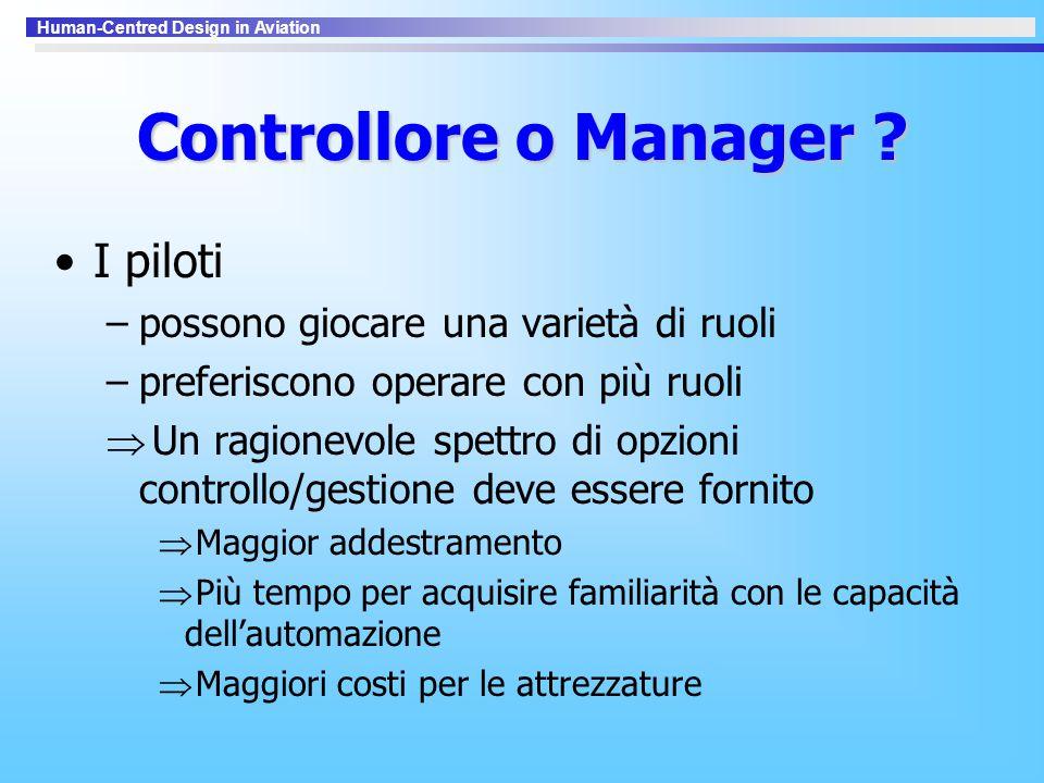 Controllore o Manager ? I piloti –possono giocare una varietà di ruoli –preferiscono operare con più ruoli  Un ragionevole spettro di opzioni control