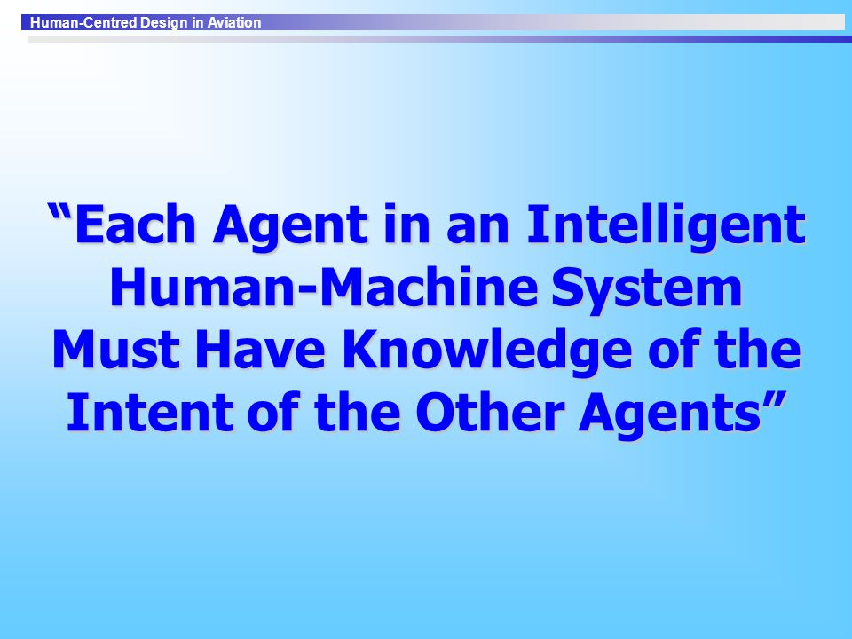 Human-Centred Design in Aviation Each Agent in an Intelligent Human-Machine System Must Have Knowledge of the Intent of the Other Agents