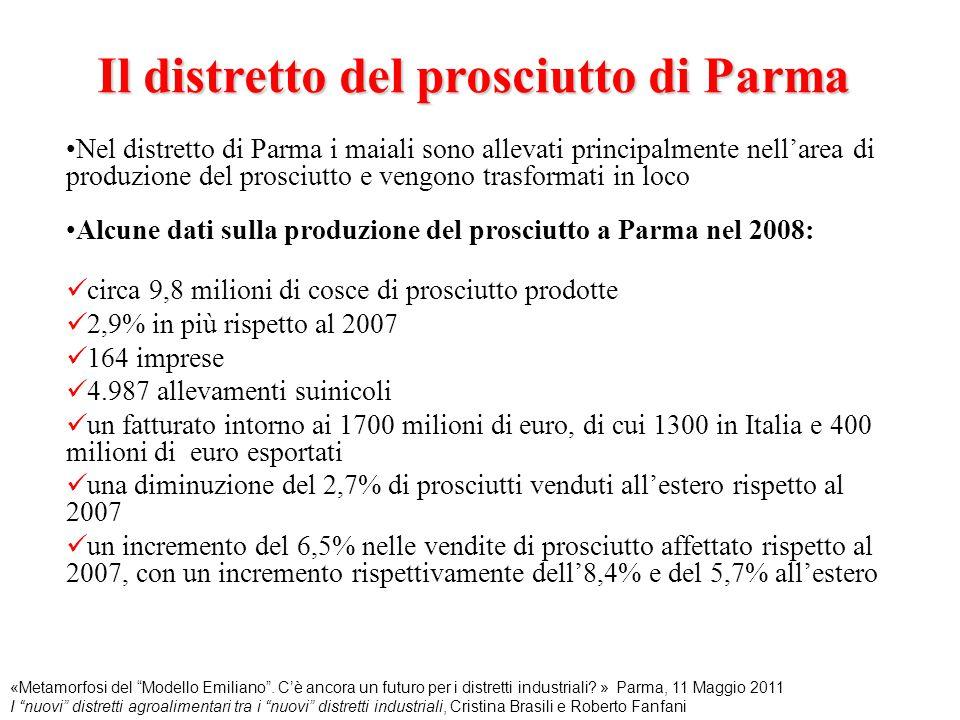 Il distretto del prosciutto di Parma Nel distretto di Parma i maiali sono allevati principalmente nell'area di produzione del prosciutto e vengono tra