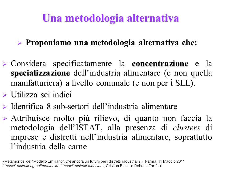 Una metodologia alternativa  Proponiamo una metodologia alternativa che: concentrazione specializzazione  Considera specificatamente la concentrazio