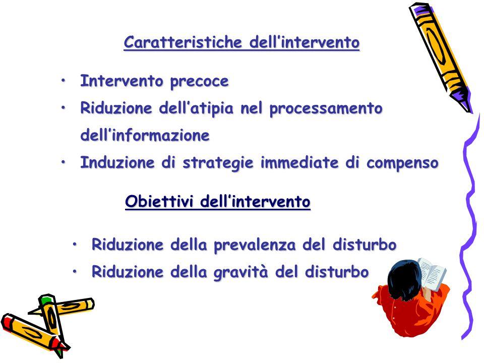 InterventoIntervento precoce RiduzioneRiduzione dell'atipia nel processamento dell'informazione InduzioneInduzione di strategie immediate di compenso Caratteristiche dell'intervento RiduzioneRiduzione della prevalenza del disturbo della gravità del disturbo Obiettivi dell'intervento