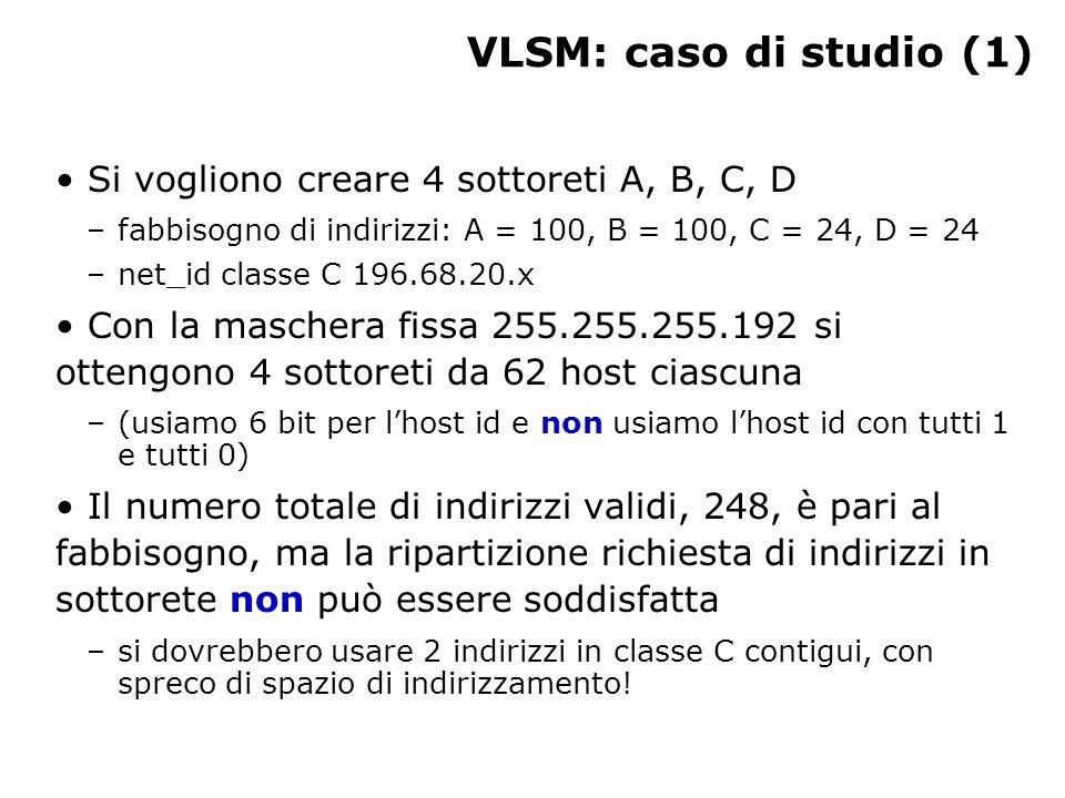 VLSM: caso di studio (1) Si vogliono creare 4 sottoreti A, B, C, D –fabbisogno di indirizzi: A = 100, B = 100, C = 24, D = 24 –net_id classe C 196.68.20.x Con la maschera fissa 255.255.255.192 si ottengono 4 sottoreti da 62 host ciascuna –(usiamo 6 bit per l'host id e non usiamo l'host id con tutti 1 e tutti 0) Il numero totale di indirizzi validi, 248, è pari al fabbisogno, ma la ripartizione richiesta di indirizzi in sottorete non può essere soddisfatta –si dovrebbero usare 2 indirizzi in classe C contigui, con spreco di spazio di indirizzamento!