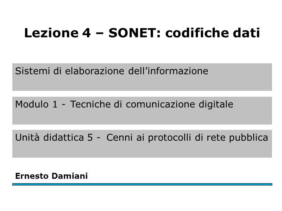 Sistemi di elaborazione dell'informazione Modulo 1 -Tecniche di comunicazione digitale Unità didattica 5 -Cenni ai protocolli di rete pubblica Ernesto Damiani Lezione 4 – SONET: codifiche dati