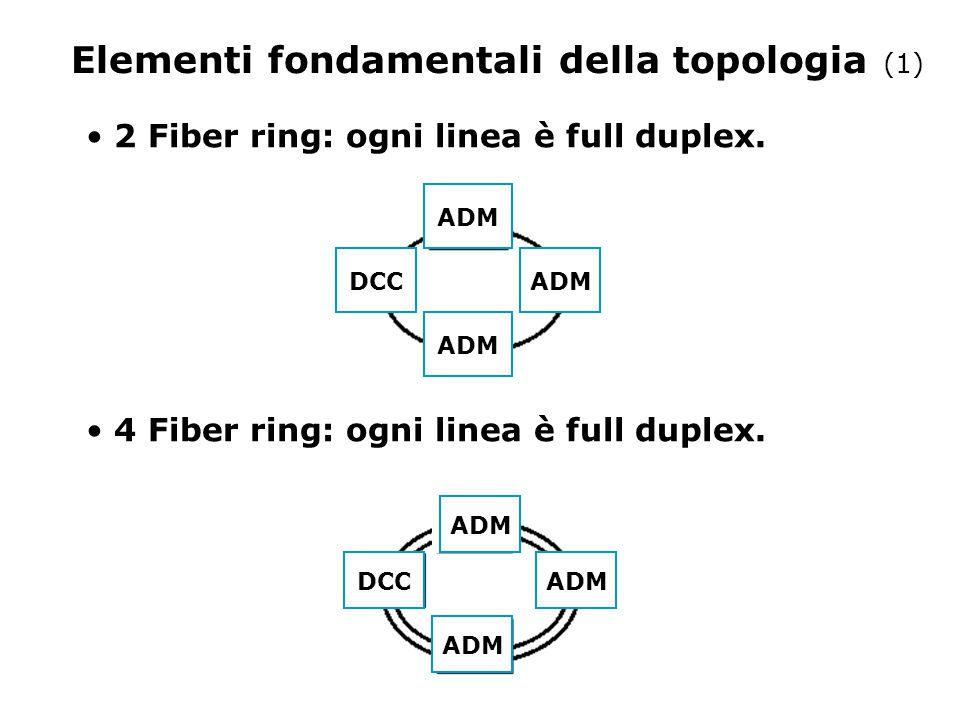 Elementi fondamentali della topologia (1) 2 Fiber ring: ogni linea è full duplex. 4 Fiber ring: ogni linea è full duplex. ADMDCC ADM DCC