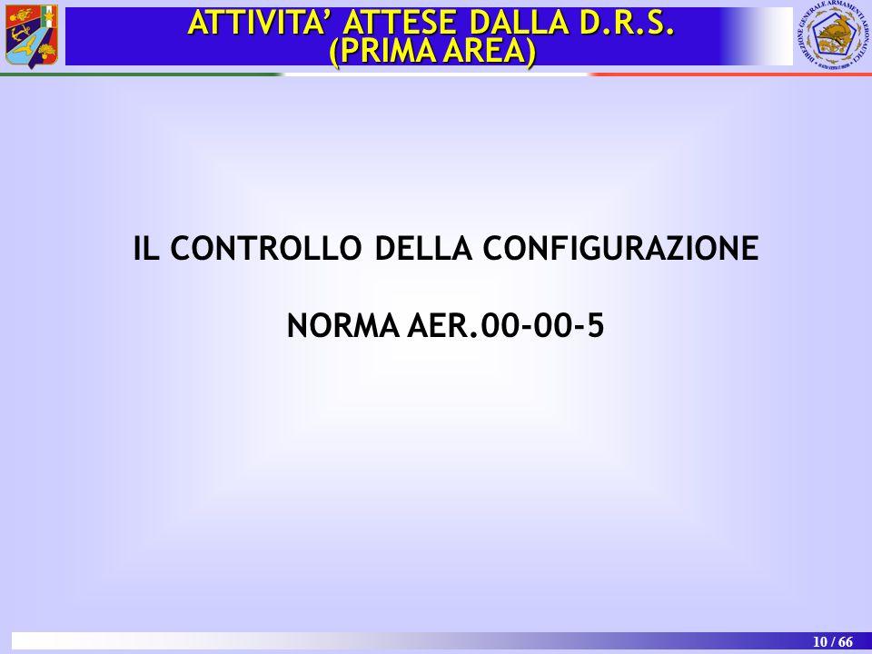 10 / 66 IL CONTROLLO DELLA CONFIGURAZIONE NORMA AER.00-00-5 ATTIVITA' ATTESE DALLA D.R.S. (PRIMA AREA)