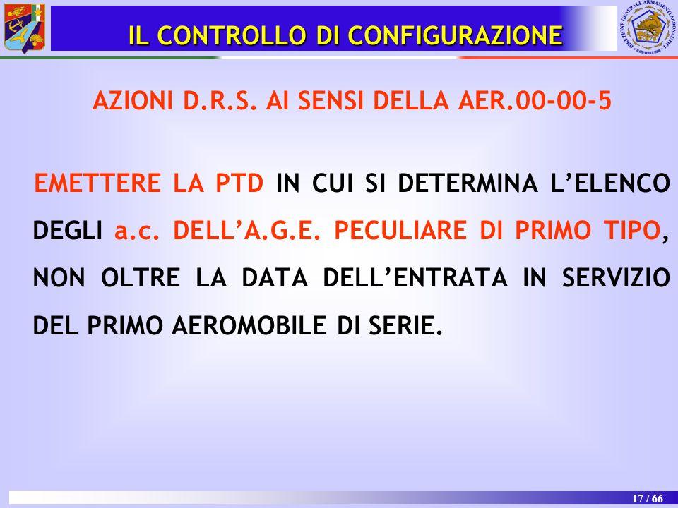 17 / 66 AZIONI D.R.S. AI SENSI DELLA AER.00-00-5 EMETTERE LA PTD IN CUI SI DETERMINA L'ELENCO DEGLI a.c. DELL'A.G.E. PECULIARE DI PRIMO TIPO, NON OLTR