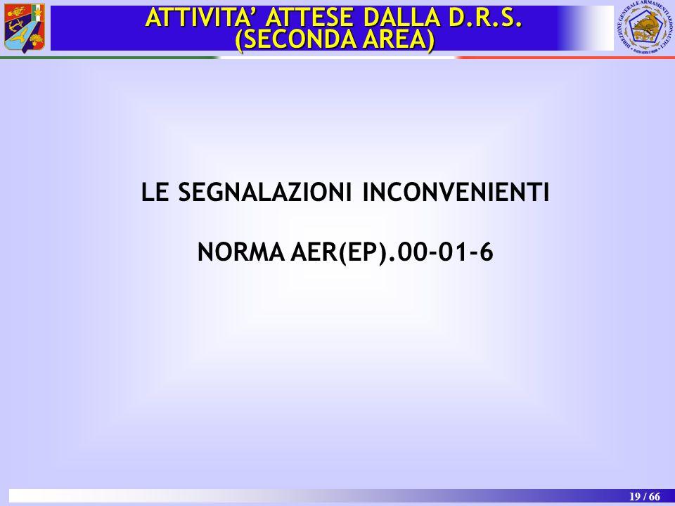 19 / 66 LE SEGNALAZIONI INCONVENIENTI NORMA AER(EP).00-01-6 ATTIVITA' ATTESE DALLA D.R.S. (SECONDA AREA)