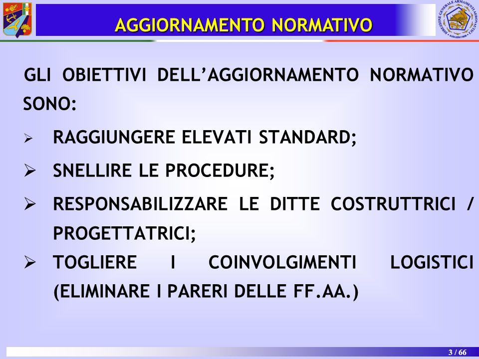 3 / 66 AGGIORNAMENTO NORMATIVO GLI OBIETTIVI DELL'AGGIORNAMENTO NORMATIVO SONO:  RAGGIUNGERE ELEVATI STANDARD;  SNELLIRE LE PROCEDURE;  RESPONSABIL