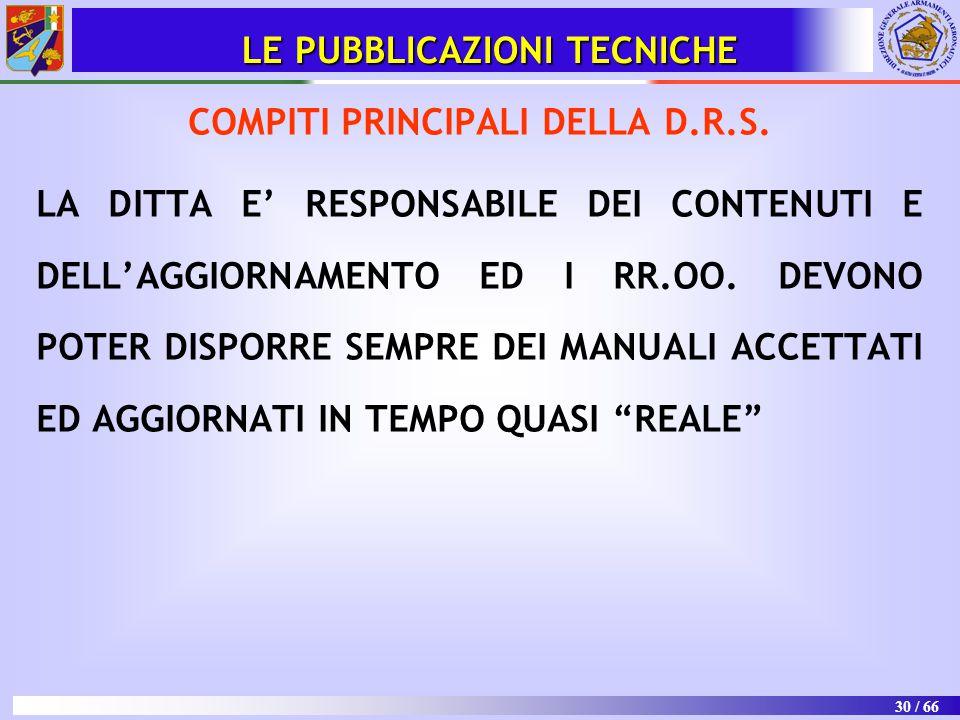 30 / 66 LE PUBBLICAZIONI TECNICHE COMPITI PRINCIPALI DELLA D.R.S. LA DITTA E' RESPONSABILE DEI CONTENUTI E DELL'AGGIORNAMENTO ED I RR.OO. DEVONO POTER