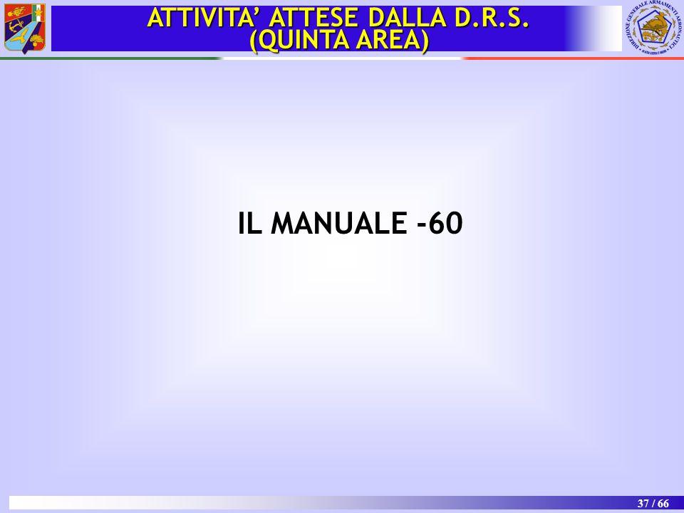 37 / 66 IL MANUALE -60 ATTIVITA' ATTESE DALLA D.R.S. (QUINTA AREA)