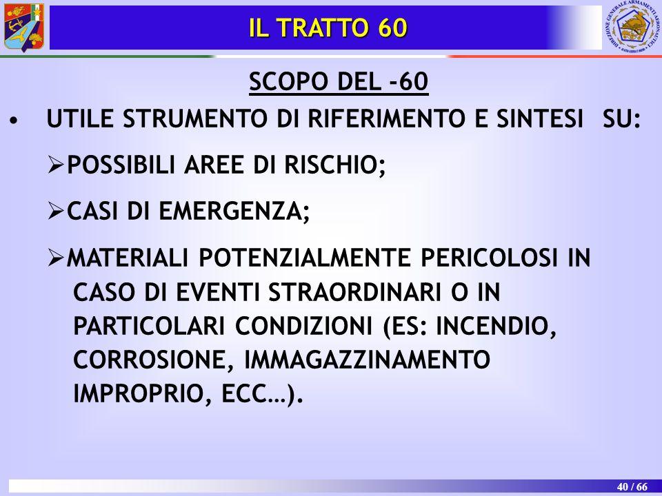 40 / 66 SCOPO DEL -60 UTILE STRUMENTO DI RIFERIMENTO E SINTESI SU:   POSSIBILI AREE DI RISCHIO;   CASI DI EMERGENZA;   MATERIALI POTENZIALMENTE