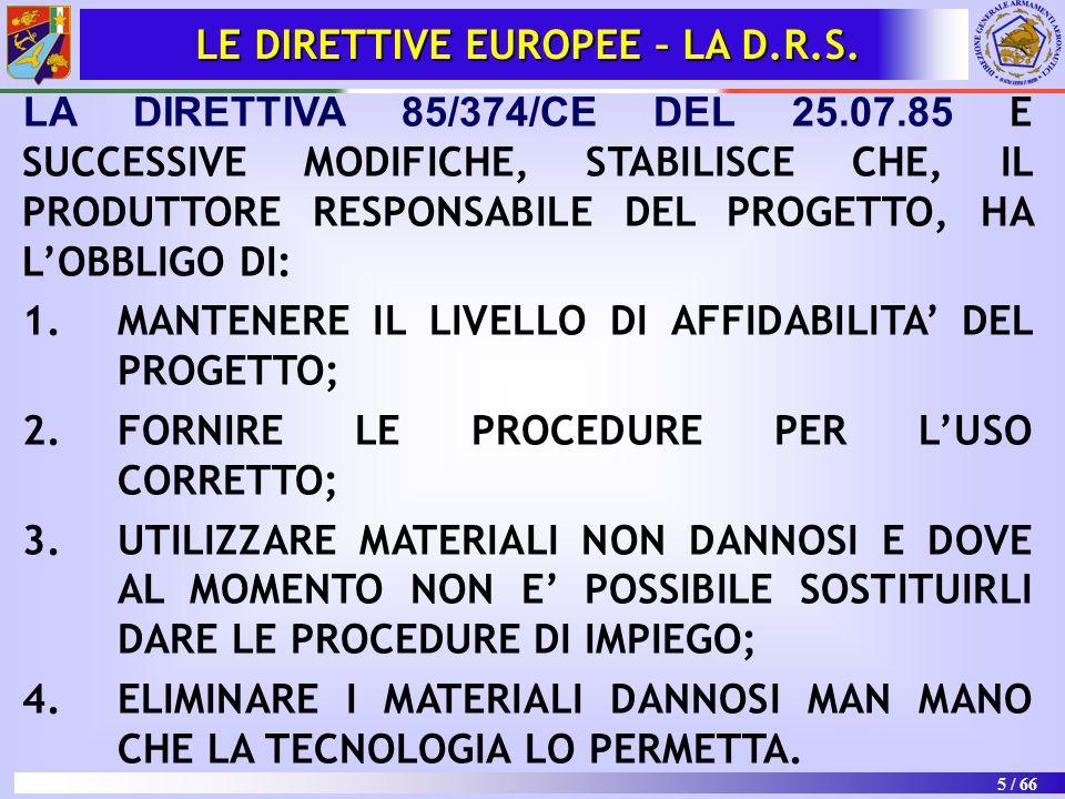 5 / 66 LE DIRETTIVE EUROPEE – LA D.R.S. LA DIRETTIVA 85/374/CE DEL 25.07.85 E SUCCESSIVE MODIFICHE, STABILISCE CHE, IL PRODUTTORE RESPONSABILE DEL PRO