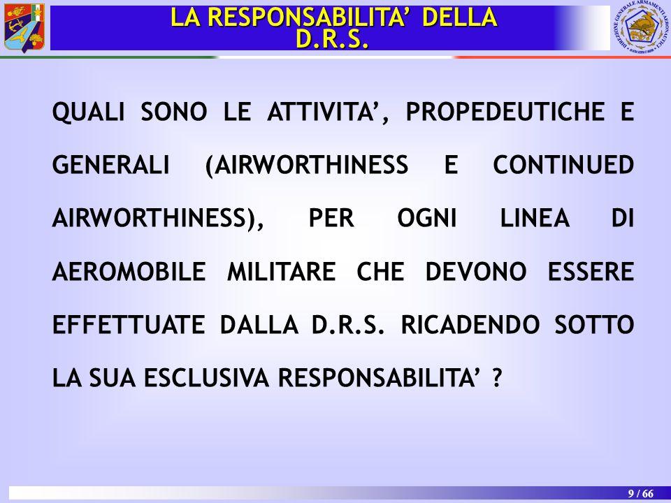 9 / 66 QUALI SONO LE ATTIVITA', PROPEDEUTICHE E GENERALI (AIRWORTHINESS E CONTINUED AIRWORTHINESS), PER OGNI LINEA DI AEROMOBILE MILITARE CHE DEVONO E