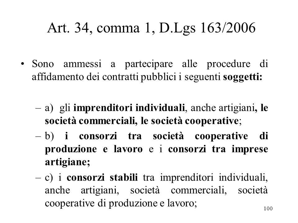 100 Art. 34, comma 1, D.Lgs 163/2006 Sono ammessi a partecipare alle procedure di affidamento dei contratti pubblici i seguenti soggetti: –a) gli impr