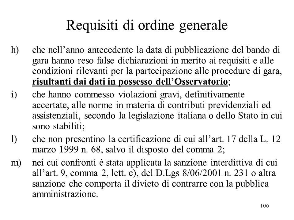 106 Requisiti di ordine generale h) che nell'anno antecedente la data di pubblicazione del bando di gara hanno reso false dichiarazioni in merito ai r