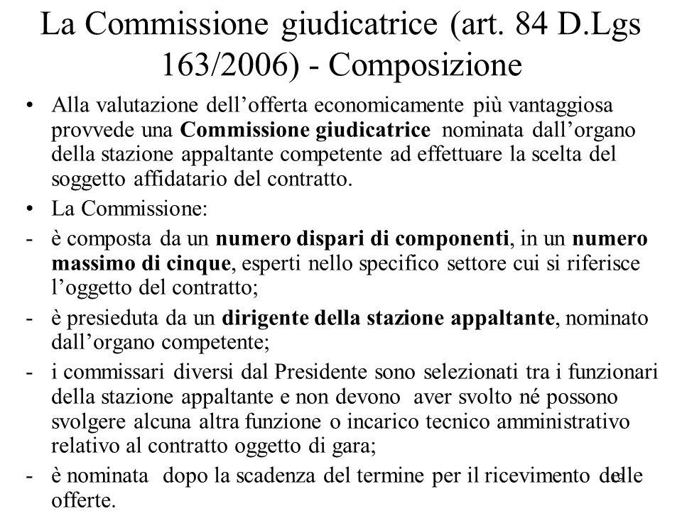 119 La Commissione giudicatrice (art. 84 D.Lgs 163/2006) - Composizione Alla valutazione dell'offerta economicamente più vantaggiosa provvede una Comm
