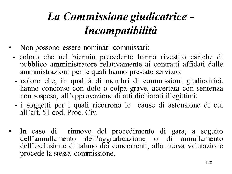 120 La Commissione giudicatrice - Incompatibilità Non possono essere nominati commissari: - coloro che nel biennio precedente hanno rivestito cariche