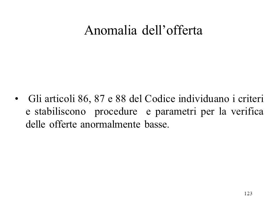 123 Anomalia dell'offerta Gli articoli 86, 87 e 88 del Codice individuano i criteri e stabiliscono procedure e parametri per la verifica delle offerte