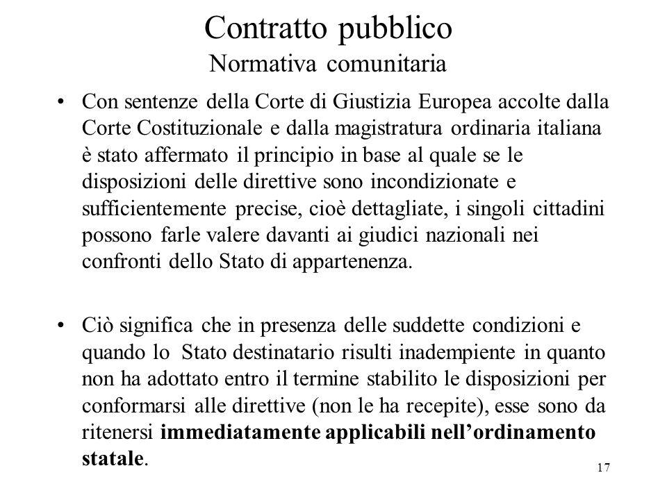 17 Contratto pubblico Normativa comunitaria Con sentenze della Corte di Giustizia Europea accolte dalla Corte Costituzionale e dalla magistratura ordi