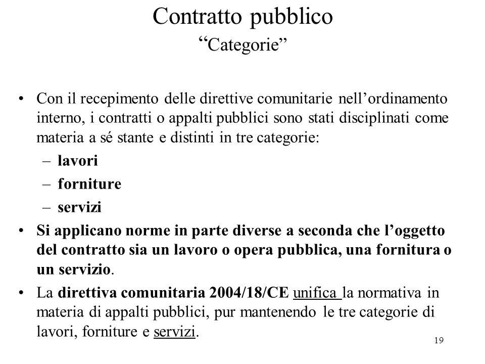 """19 Contratto pubblico """" Categorie"""" Con il recepimento delle direttive comunitarie nell'ordinamento interno, i contratti o appalti pubblici sono stati"""