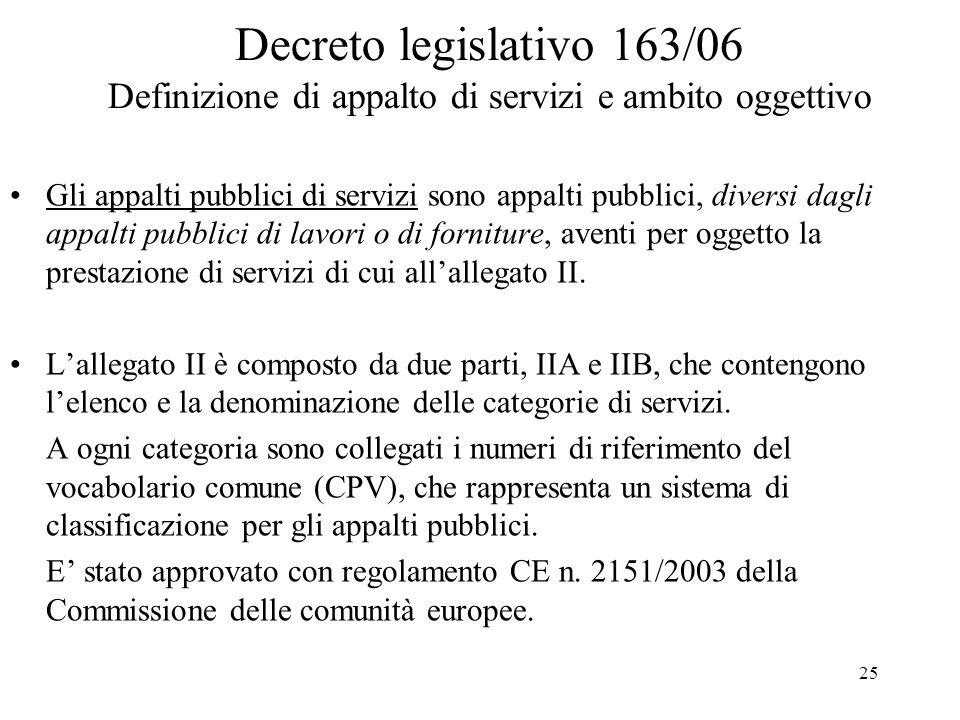 25 Decreto legislativo 163/06 Definizione di appalto di servizi e ambito oggettivo Gli appalti pubblici di servizi sono appalti pubblici, diversi dagl