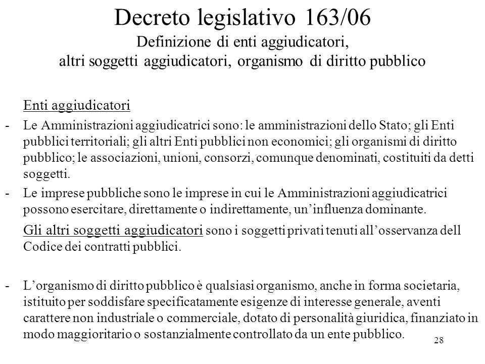 28 Decreto legislativo 163/06 Definizione di enti aggiudicatori, altri soggetti aggiudicatori, organismo di diritto pubblico Enti aggiudicatori -Le Am