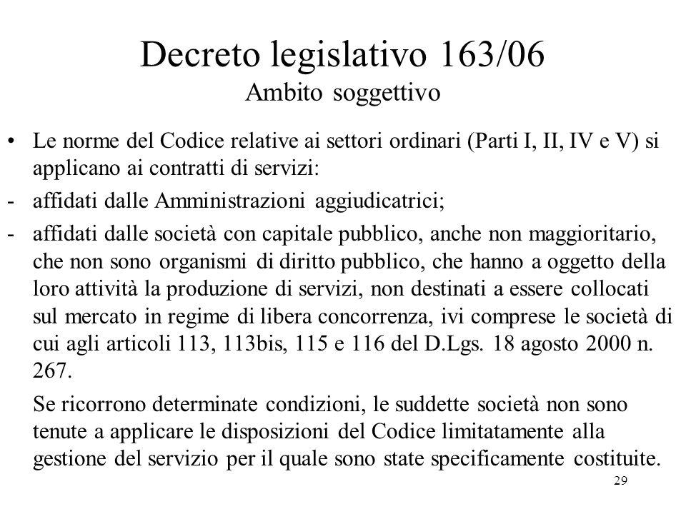 29 Decreto legislativo 163/06 Ambito soggettivo Le norme del Codice relative ai settori ordinari (Parti I, II, IV e V) si applicano ai contratti di se