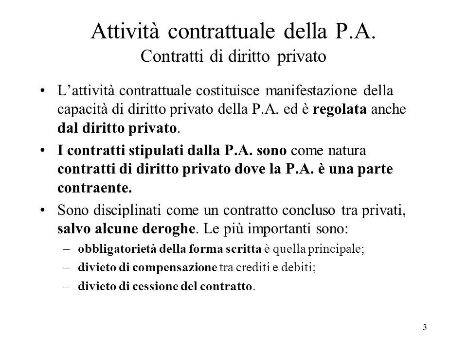 3 Attività contrattuale della P.A. Contratti di diritto privato L'attività contrattuale costituisce manifestazione della capacità di diritto privato d