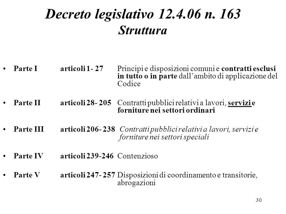 30 Decreto legislativo 12.4.06 n. 163 Struttura Parte Iarticoli 1- 27Principi e disposizioni comuni e contratti esclusi in tutto o in parte dall'ambit