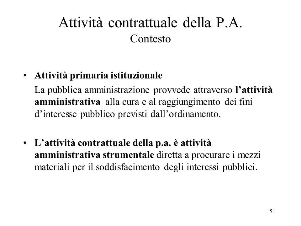 51 Attività contrattuale della P.A. Contesto Attività primaria istituzionale La pubblica amministrazione provvede attraverso l'attività amministrativa