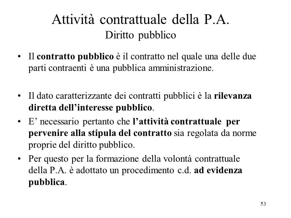 53 Attività contrattuale della P.A. Diritto pubblico Il contratto pubblico è il contratto nel quale una delle due parti contraenti è una pubblica ammi