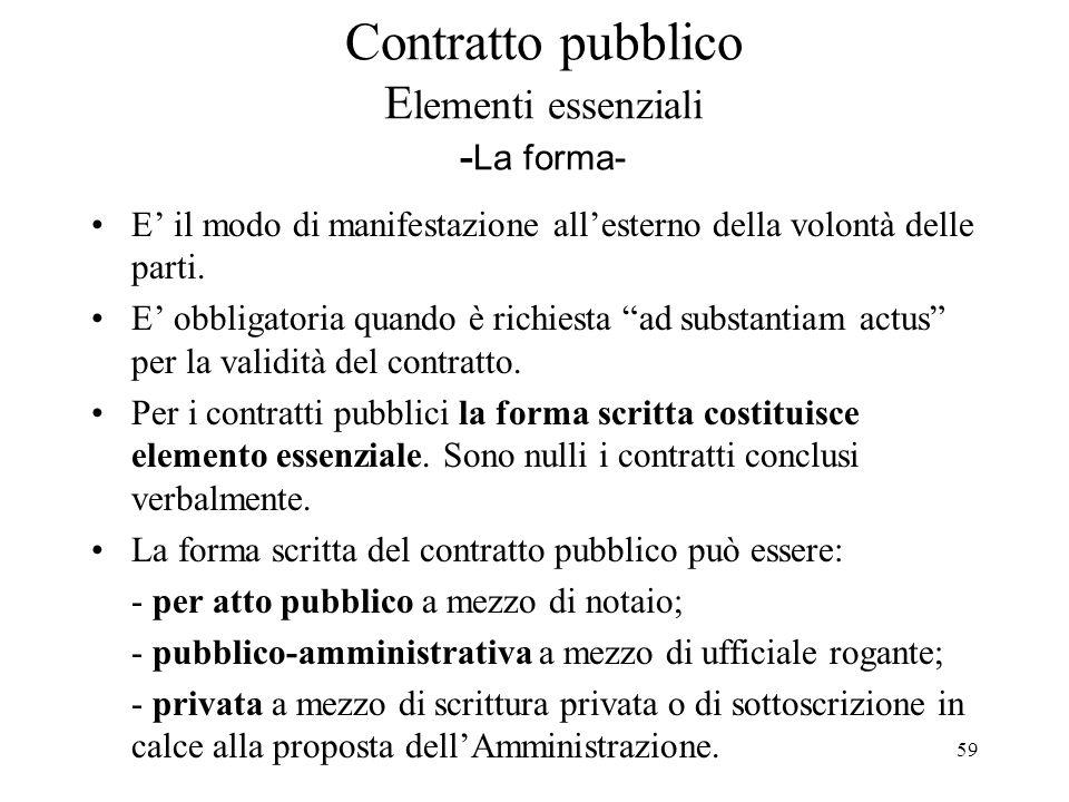 59 Contratto pubblico E lementi essenziali - La forma- E' il modo di manifestazione all'esterno della volontà delle parti. E' obbligatoria quando è ri