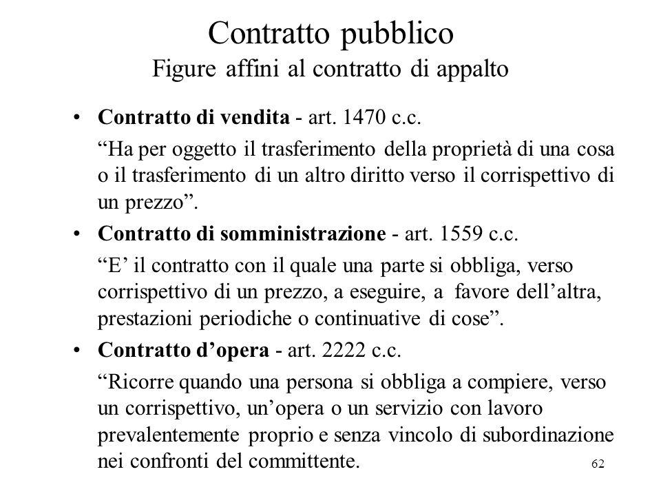 """62 Contratto pubblico Figure affini al contratto di appalto Contratto di vendita - art. 1470 c.c. """"Ha per oggetto il trasferimento della proprietà di"""
