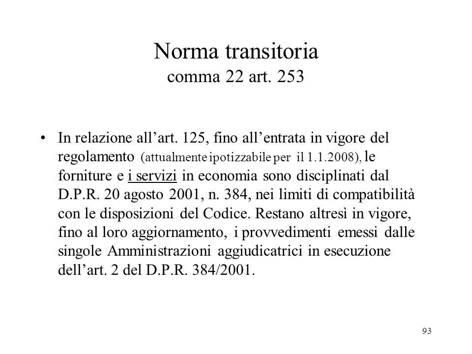 93 Norma transitoria comma 22 art. 253 In relazione all'art. 125, fino all'entrata in vigore del regolamento (attualmente ipotizzabile per il 1.1.2008