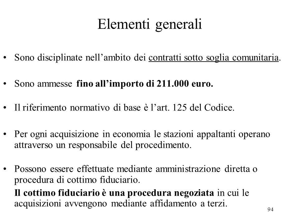 94 Elementi generali Sono disciplinate nell'ambito dei contratti sotto soglia comunitaria. Sono ammesse fino all'importo di 211.000 euro. Il riferimen