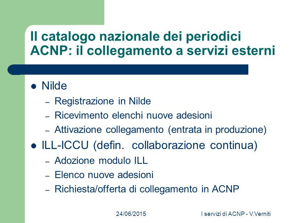 24/06/2015I servizi di ACNP - V.Verniti Il catalogo nazionale dei periodici ACNP: il collegamento a servizi esterni Nilde – Registrazione in Nilde – Ricevimento elenchi nuove adesioni – Attivazione collegamento (entrata in produzione) ILL-ICCU (defin.